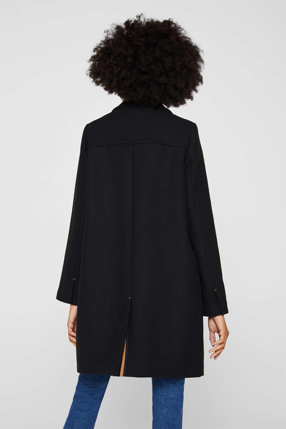 With wool: blazer coat, BLACK, detail image number 3