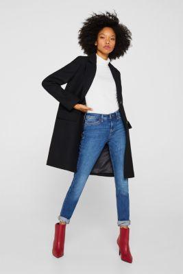 With wool: blazer coat, BLACK, detail
