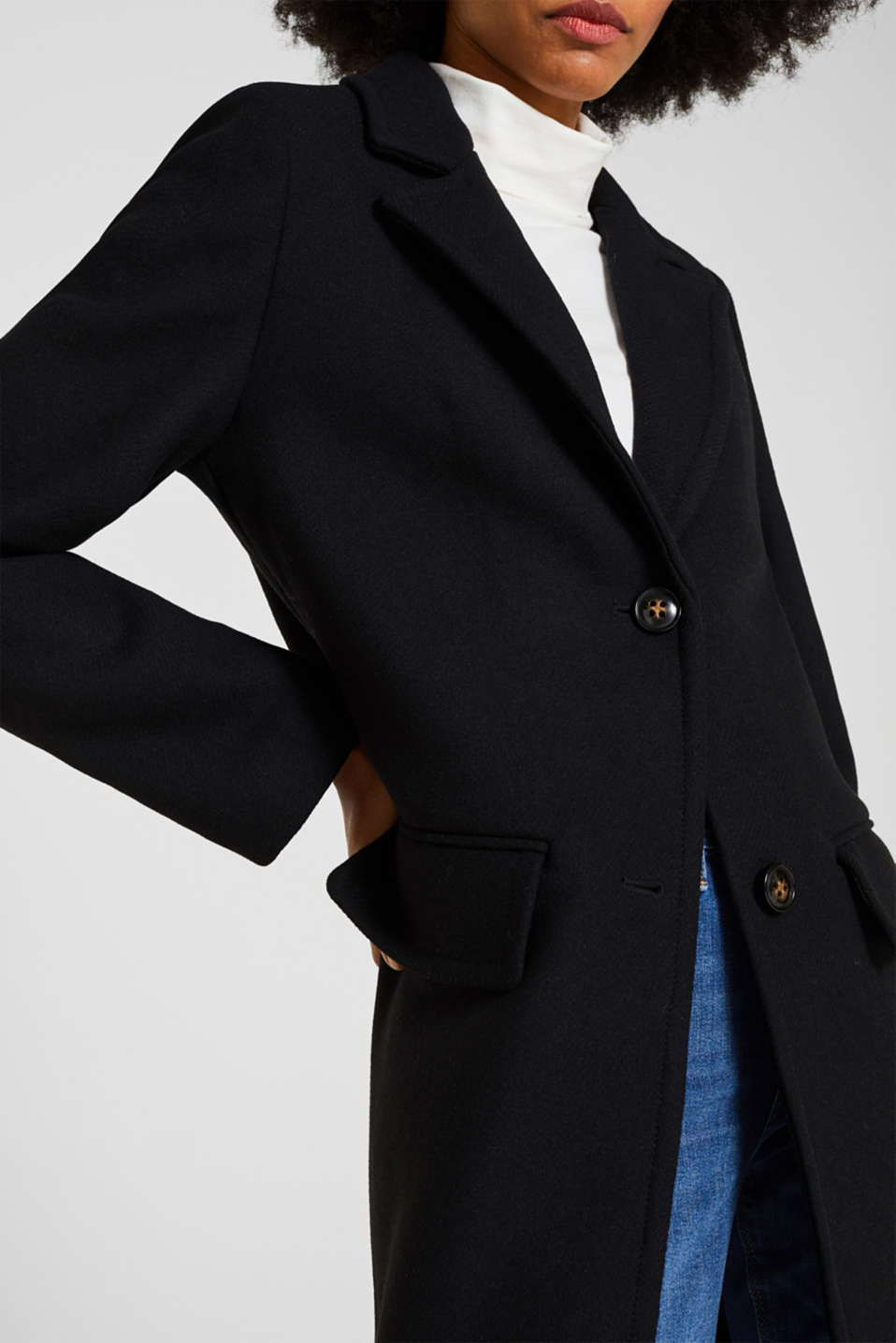 With wool: blazer coat, BLACK, detail image number 2