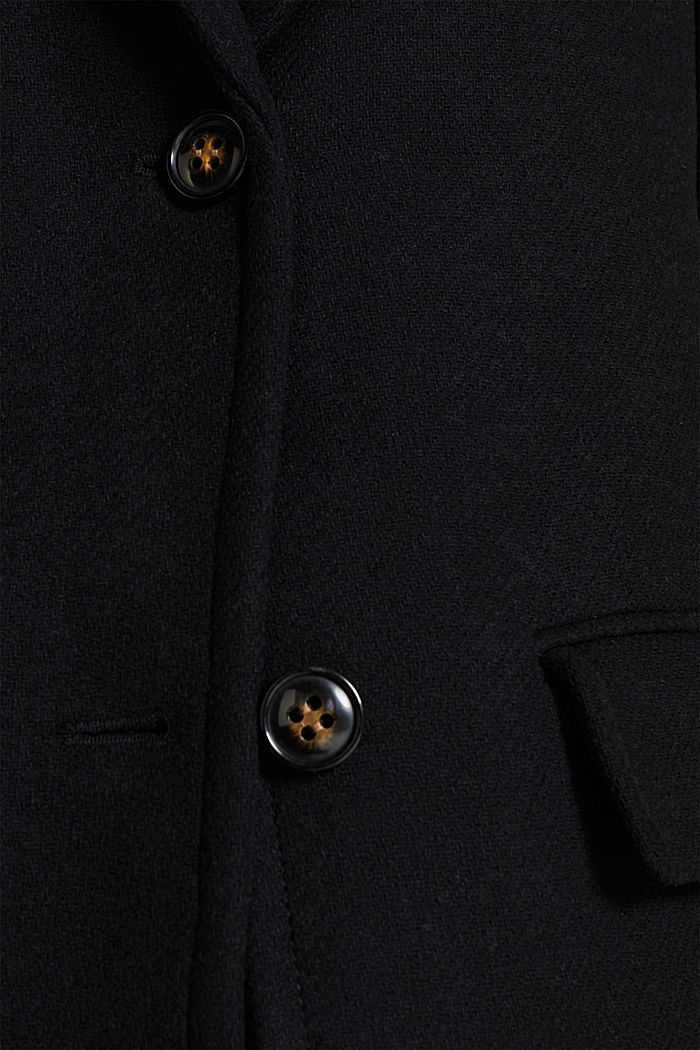 With wool: blazer coat, BLACK, detail image number 4