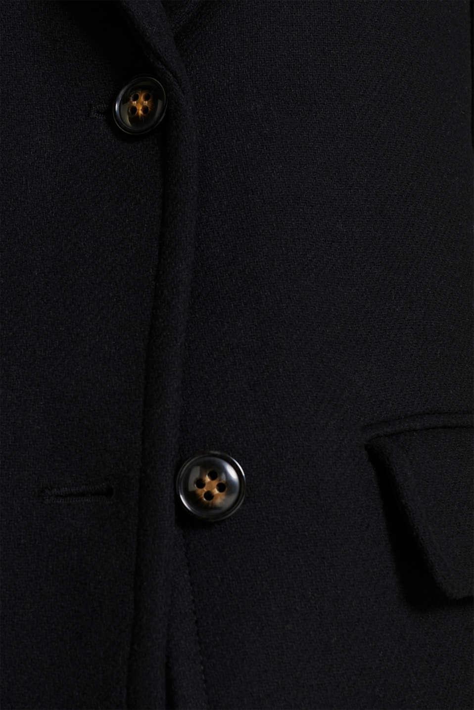 With wool: blazer coat, BLACK, detail image number 4