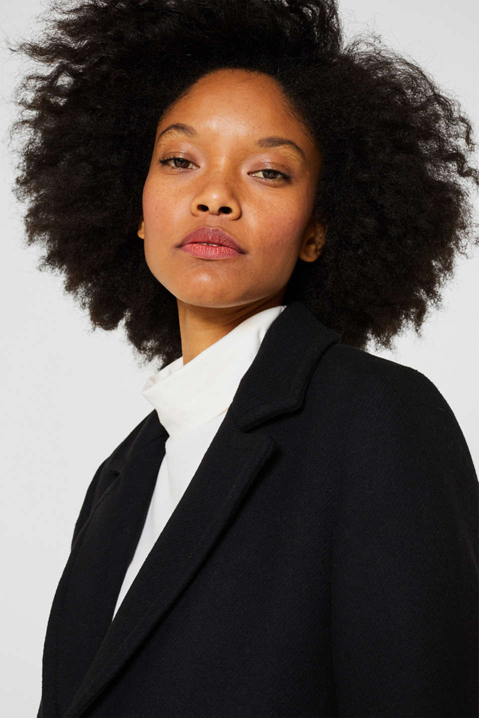 With wool: blazer coat, BLACK, detail image number 5