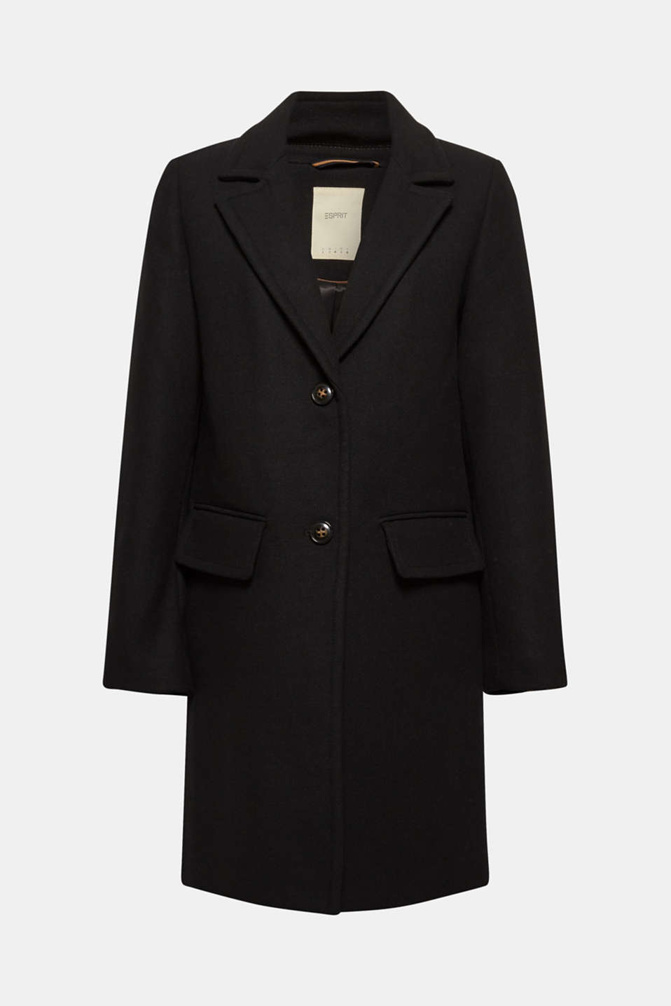With wool: blazer coat, BLACK, detail image number 6