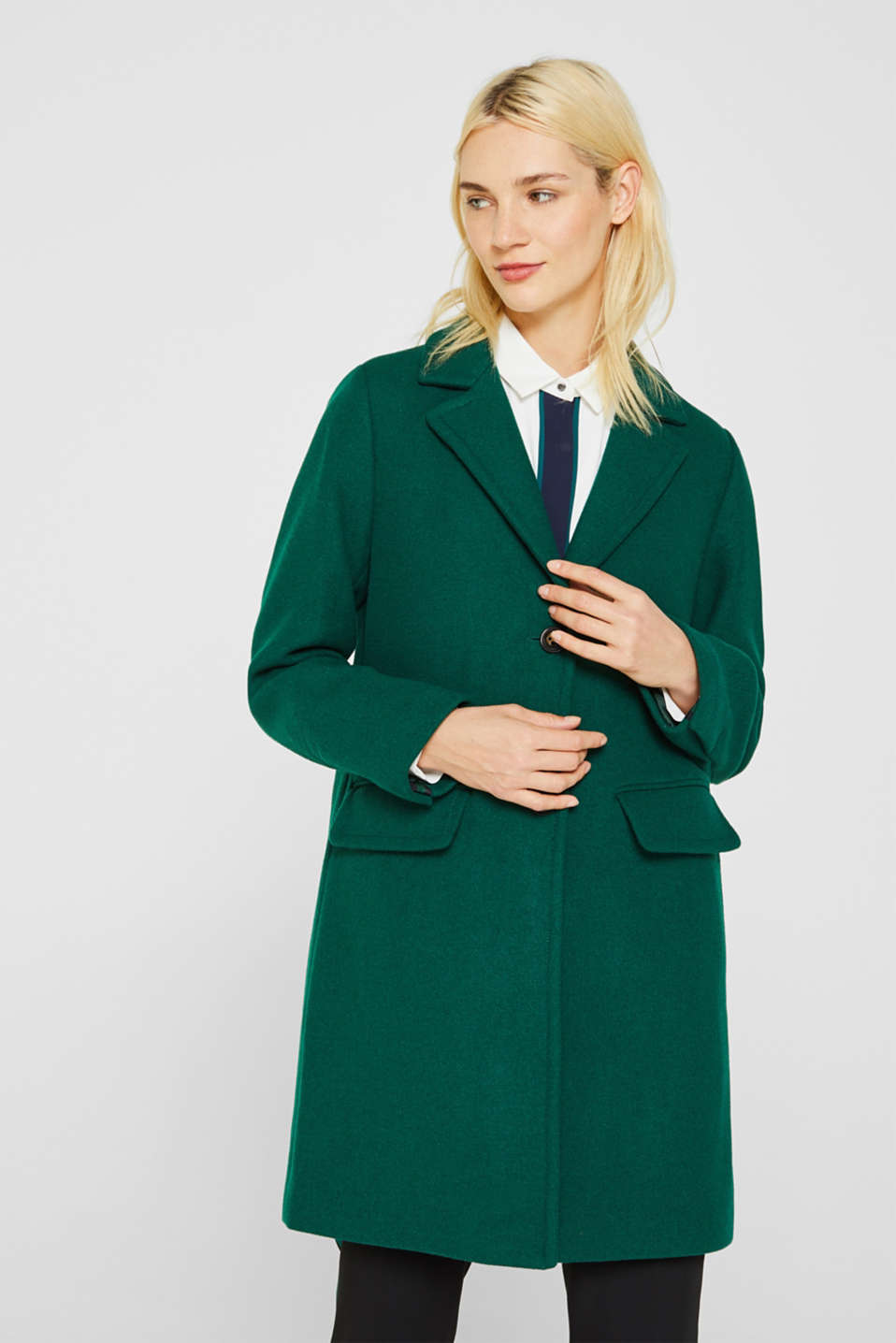Fitted blazer coat with wool, BOTTLE GREEN, detail image number 0