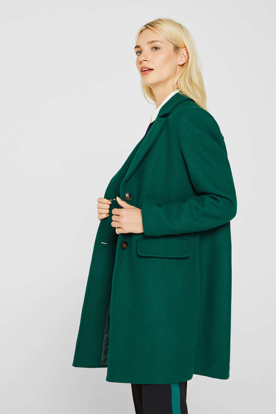 Fitted blazer coat with wool, BOTTLE GREEN, detail image number 4