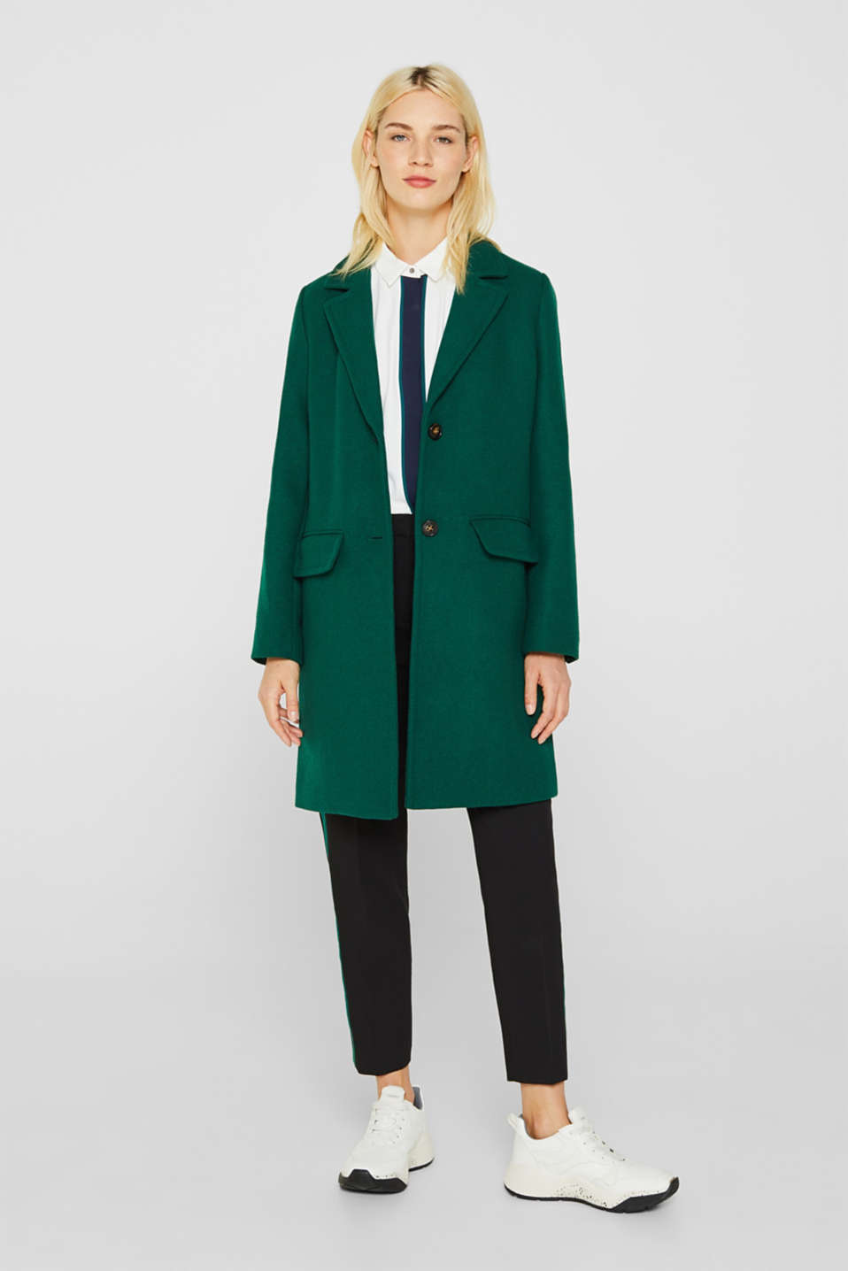 Fitted blazer coat with wool, BOTTLE GREEN, detail image number 1