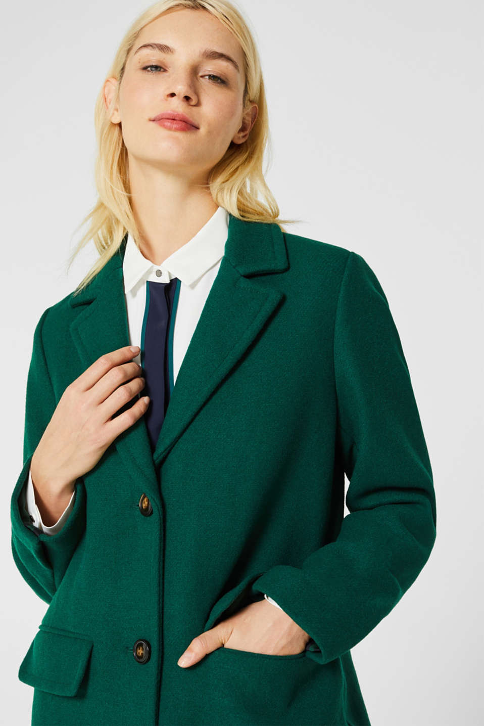 Fitted blazer coat with wool, BOTTLE GREEN, detail image number 5