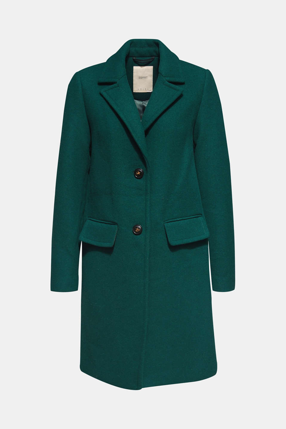 Fitted blazer coat with wool, BOTTLE GREEN, detail image number 6