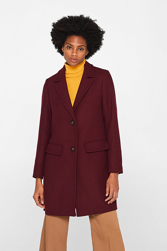 Textured wool blend coat, BORDEAUX RED, detail image number 0
