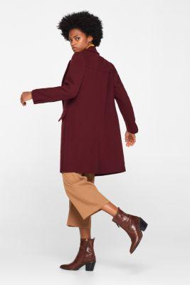 Textured wool blend coat, BORDEAUX RED, detail