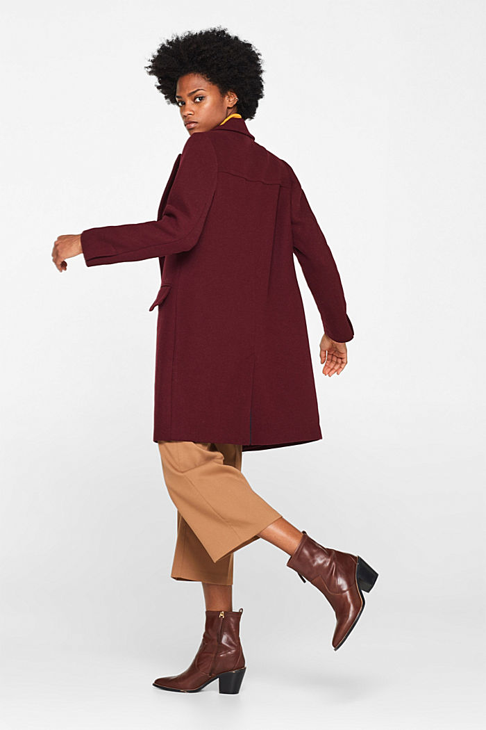 Textured wool blend coat, BORDEAUX RED, detail image number 1