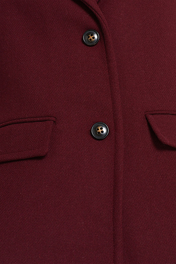 Textured wool blend coat, BORDEAUX RED, detail image number 4