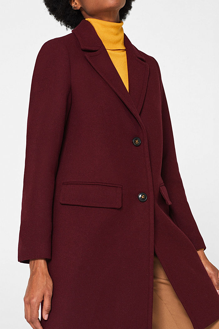 Textured wool blend coat, BORDEAUX RED, detail image number 5