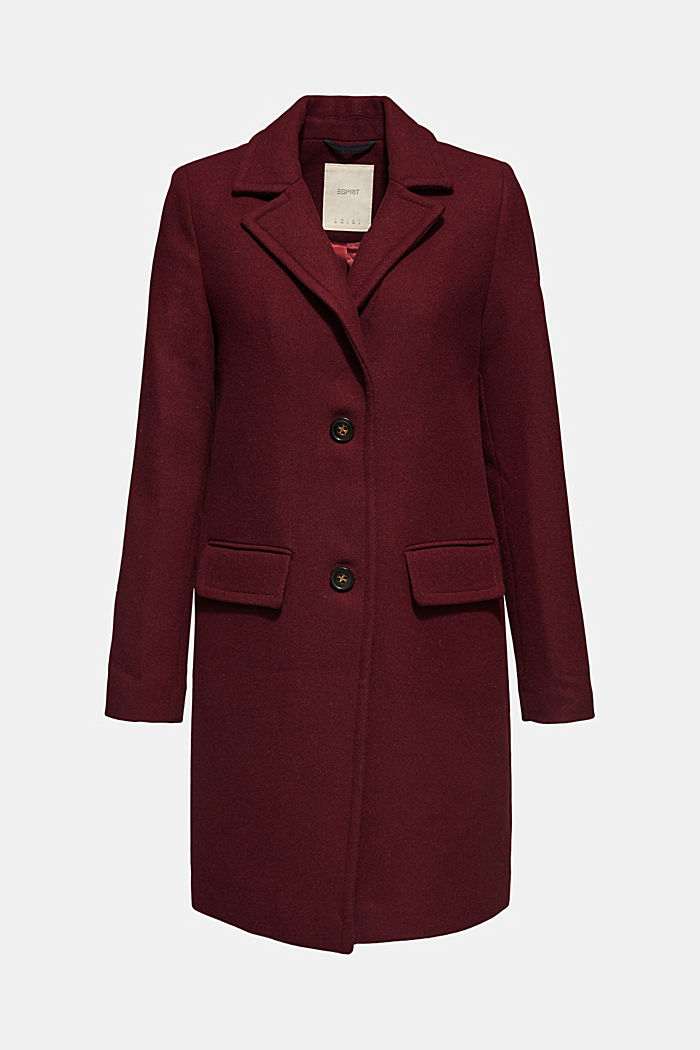 Textured wool blend coat, BORDEAUX RED, detail image number 6
