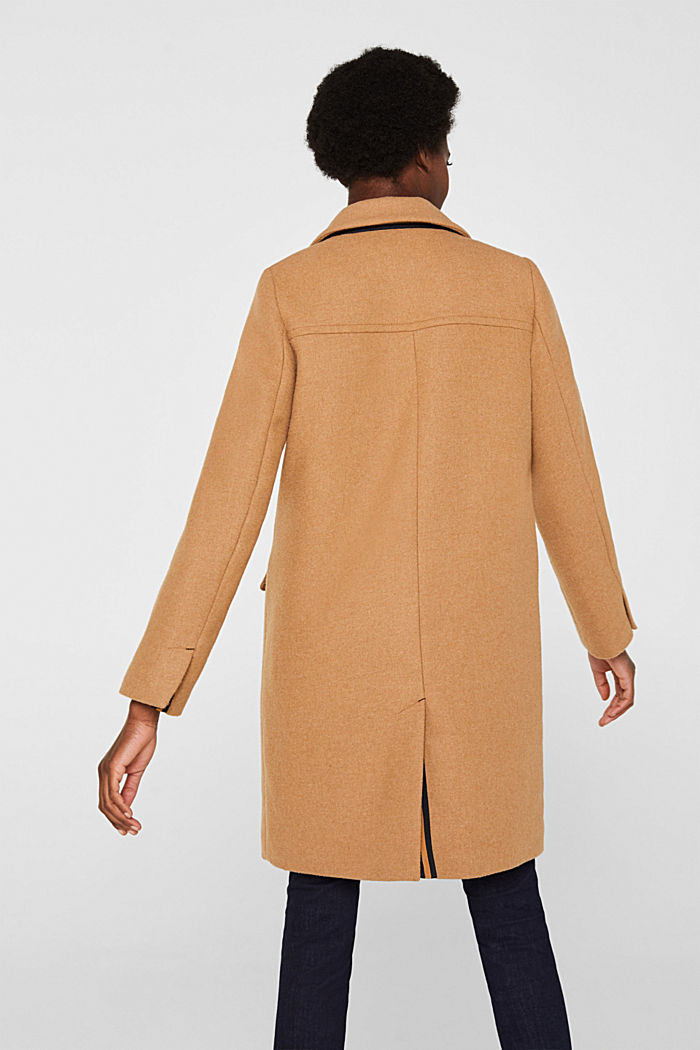 Fitted blazer coat with wool, CAMEL, detail image number 3