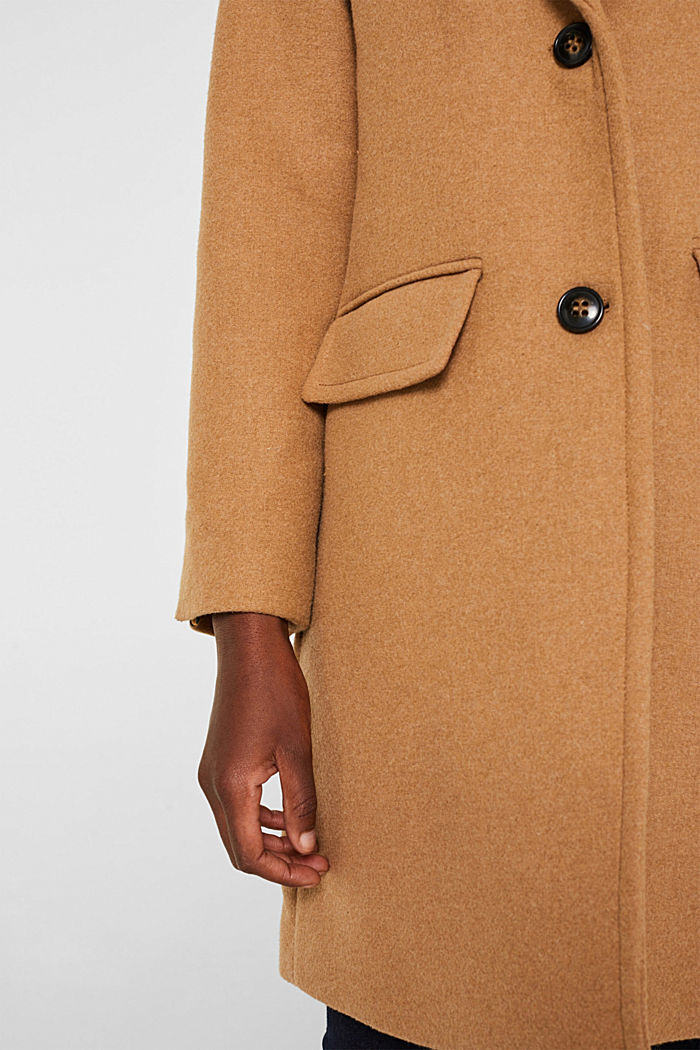 Fitted blazer coat with wool, CAMEL, detail image number 2