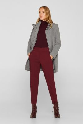 Wool blend: coat with stand-up collar, LIGHT GREY 4, detail