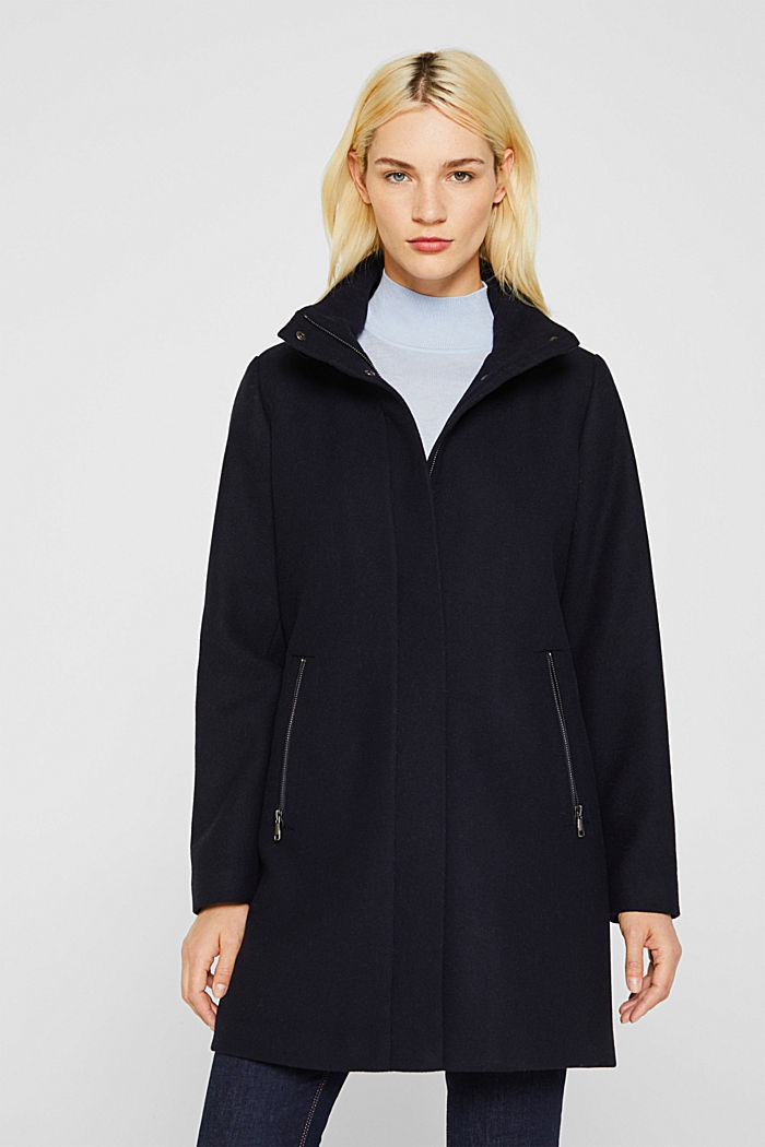Wool blend: coat with a stand-up collar, NAVY, detail image number 0