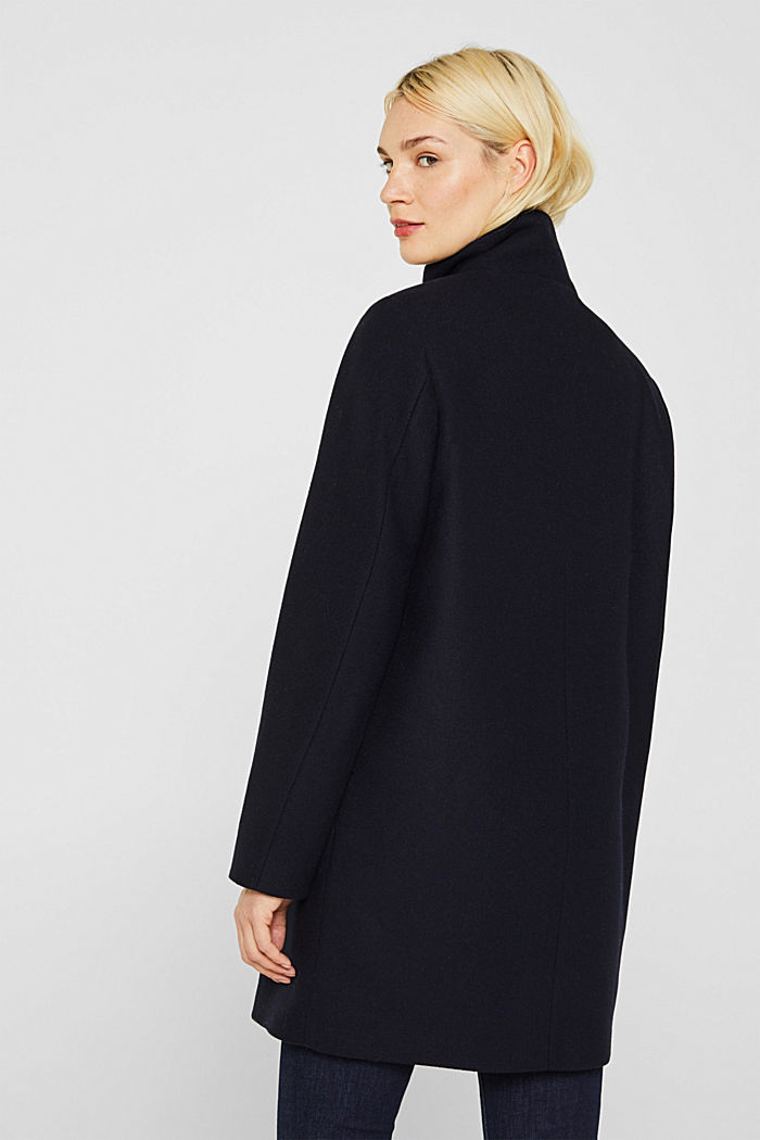 Wool blend: coat with a stand-up collar, NAVY, detail image number 3