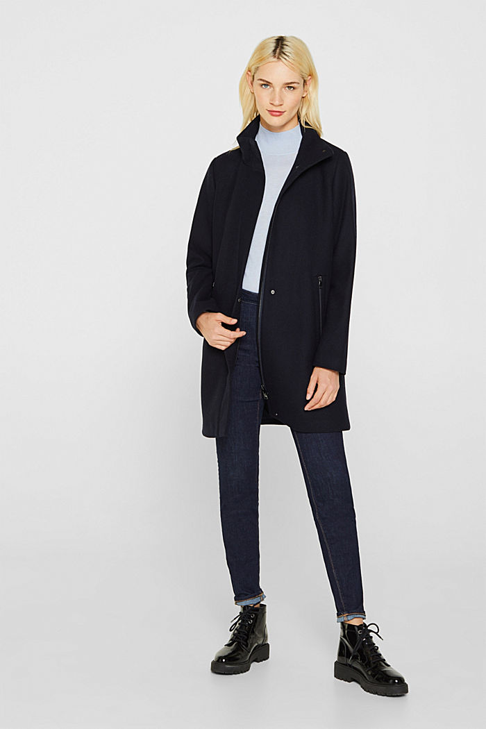 Wool blend: coat with a stand-up collar, NAVY, detail image number 1