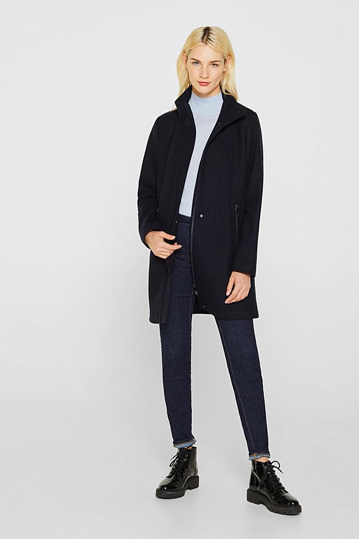 Mit Wolle: Mantel mit Stehkragen, NAVY, detail image number 1