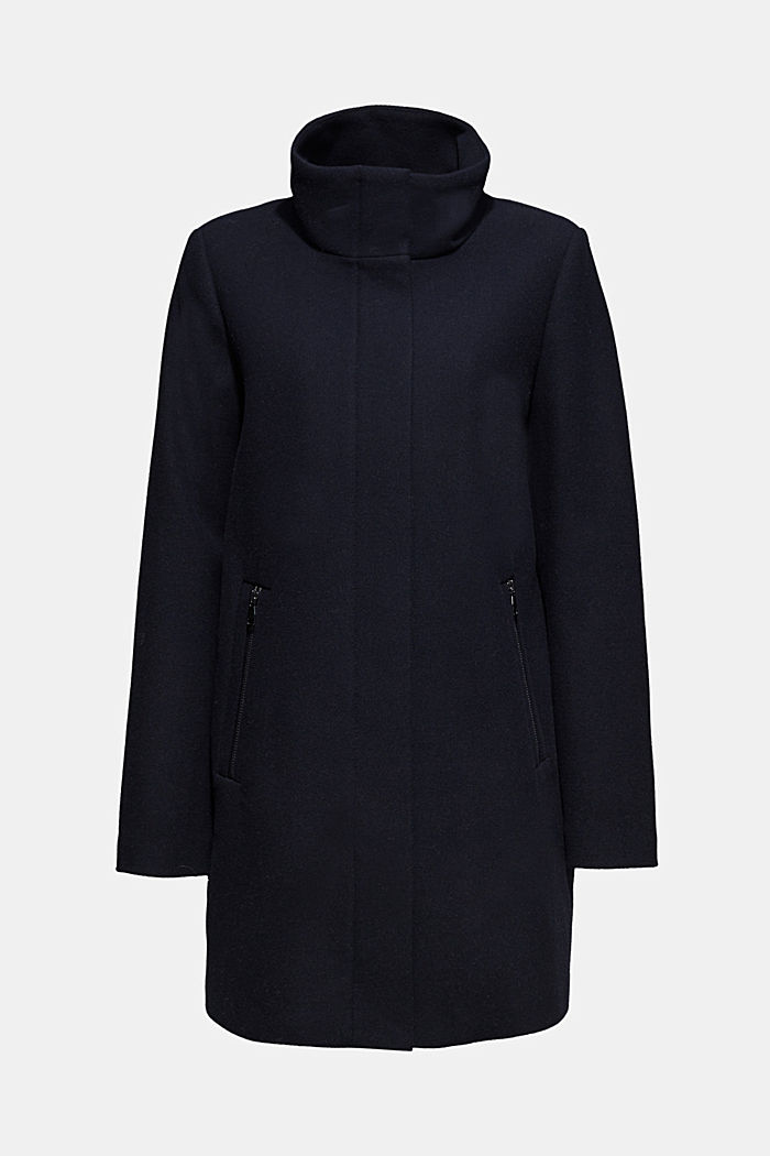 Wool blend: coat with a stand-up collar, NAVY, detail image number 6