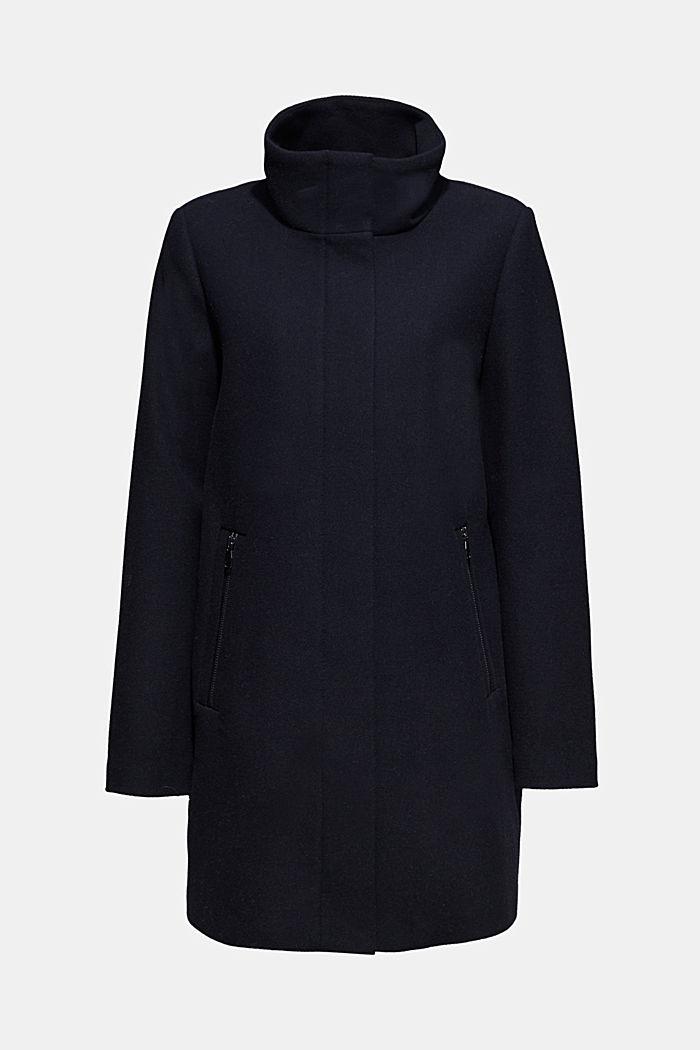 Mit Wolle: Mantel mit Stehkragen, NAVY, detail image number 6
