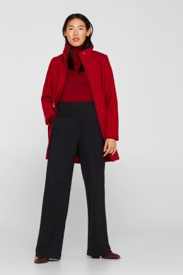 Made of blended wool: coat with stand-up collar, DARK RED, detail