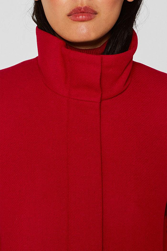 Aus Woll-Mix: Stehkragen-Mantel, DARK RED, detail image number 2