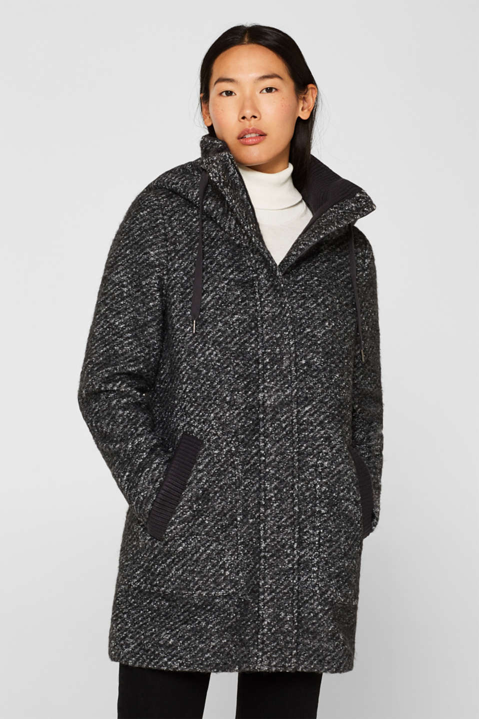 Esprit - Melange hooded coat with wool