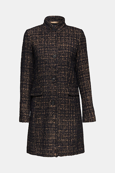 With wool: coat with a two-tone texture