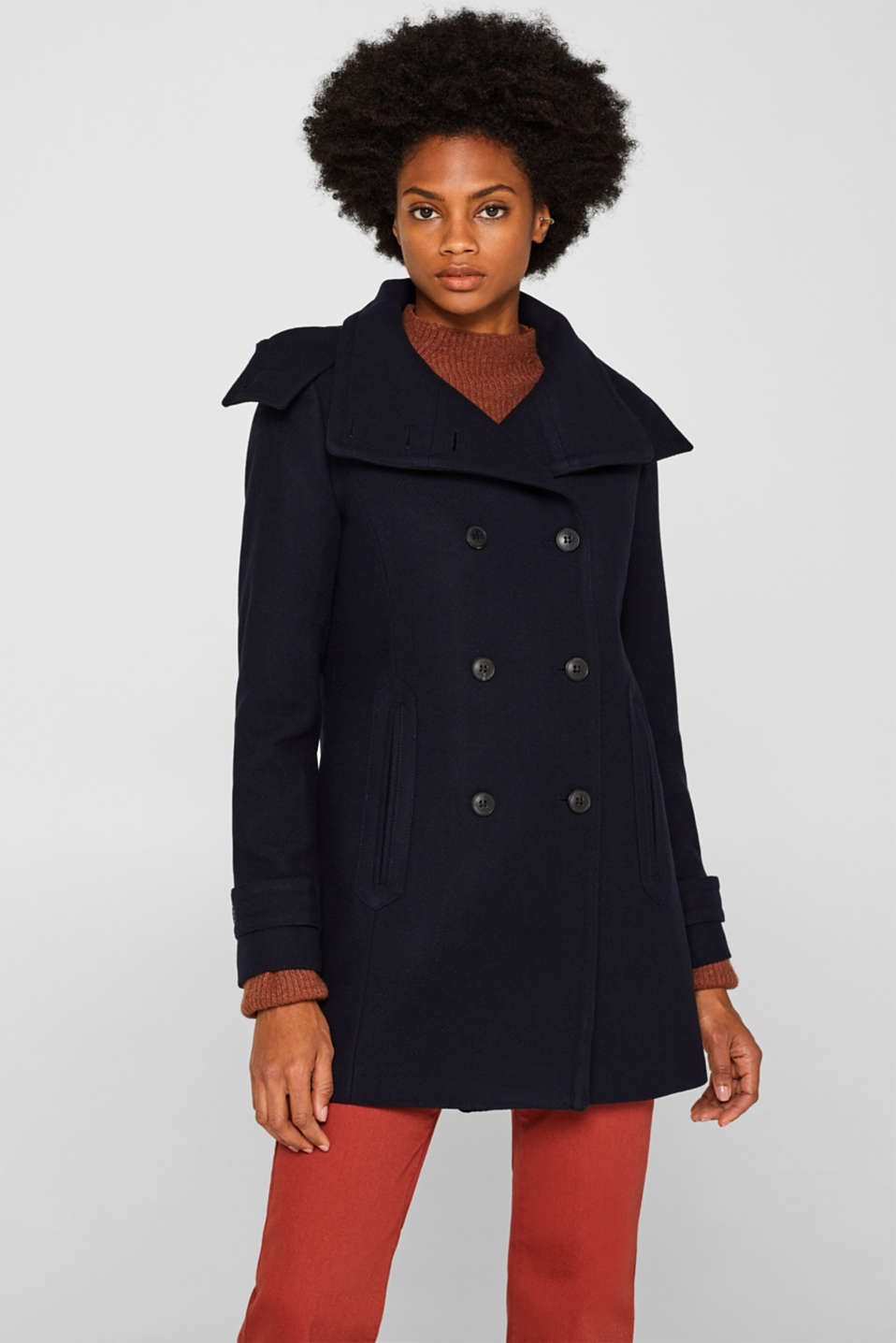 With wool: Coat with a hood, NAVY, detail image number 0