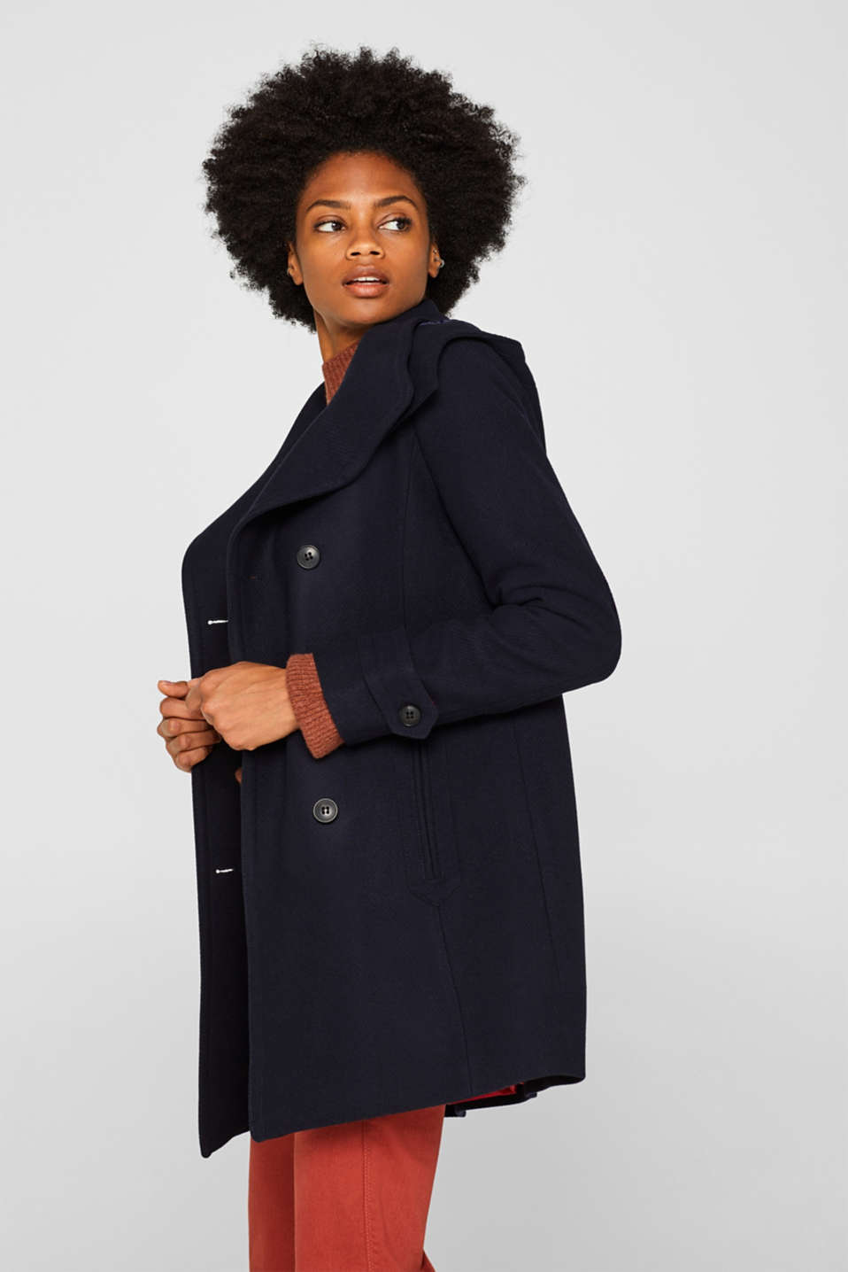 With wool: Coat with a hood, NAVY, detail image number 5