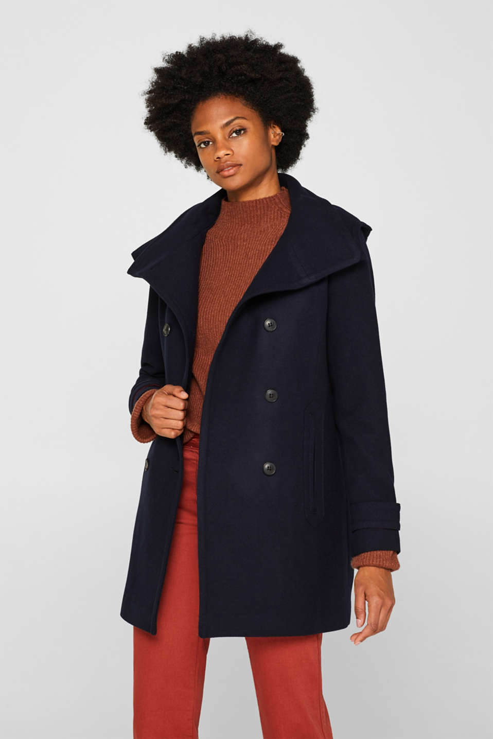 With wool: Coat with a hood, NAVY, detail image number 6