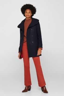 With wool: Coat with a hood, NAVY, detail