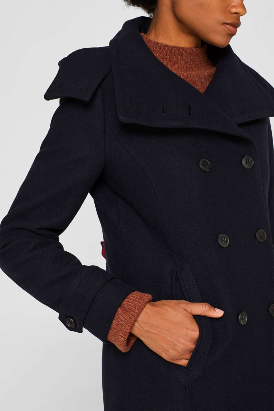 With wool: Coat with a hood, NAVY, detail image number 2