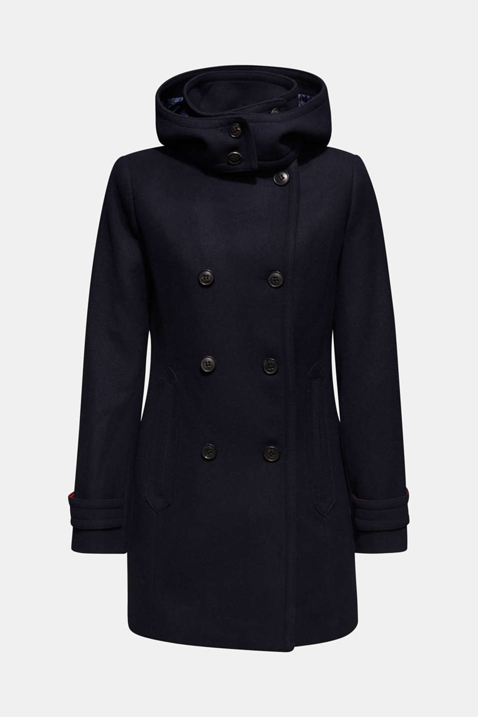 With wool: Coat with a hood, NAVY, detail image number 7