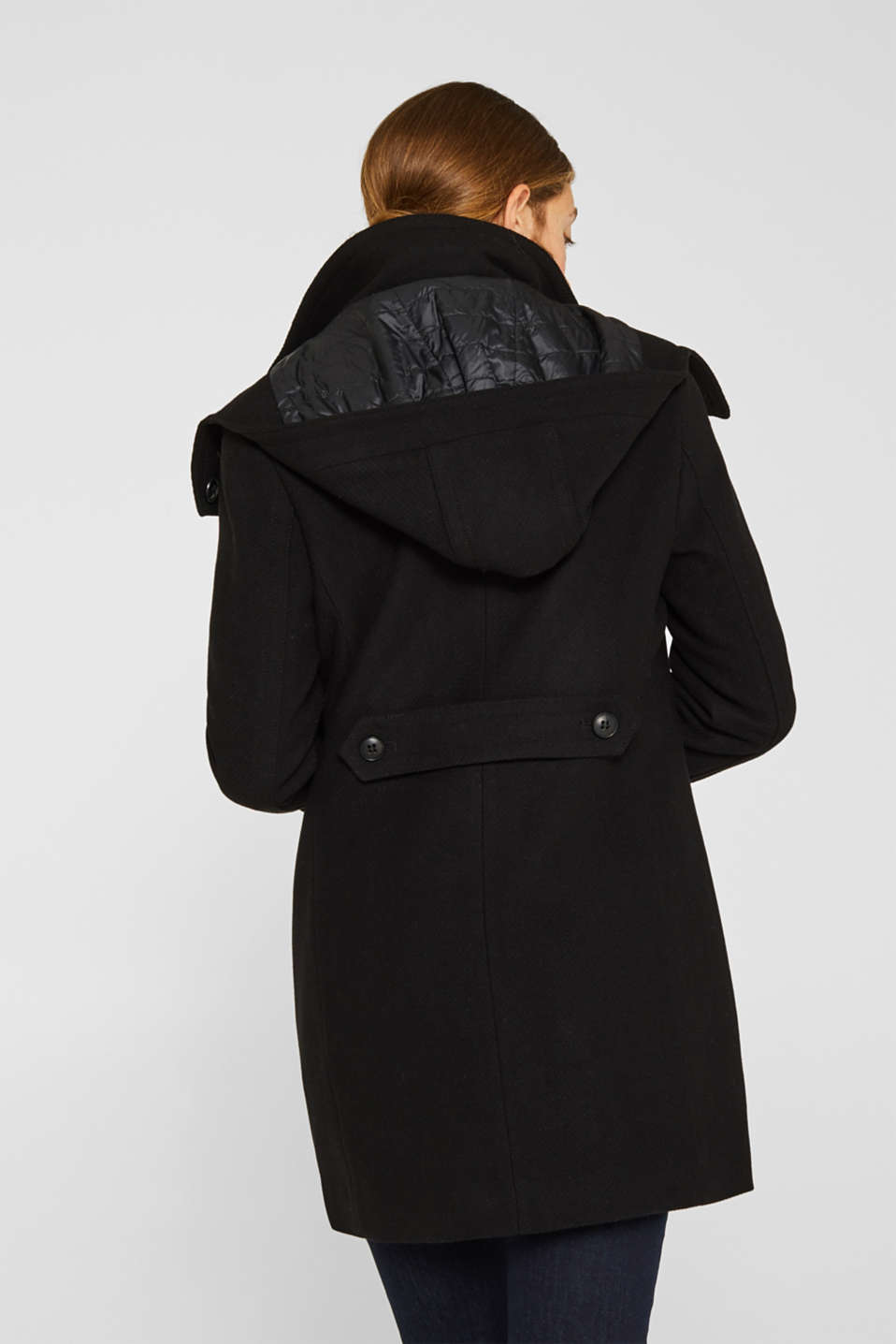Made of blended wool: Coat with an adjustable hood, BLACK, detail image number 0