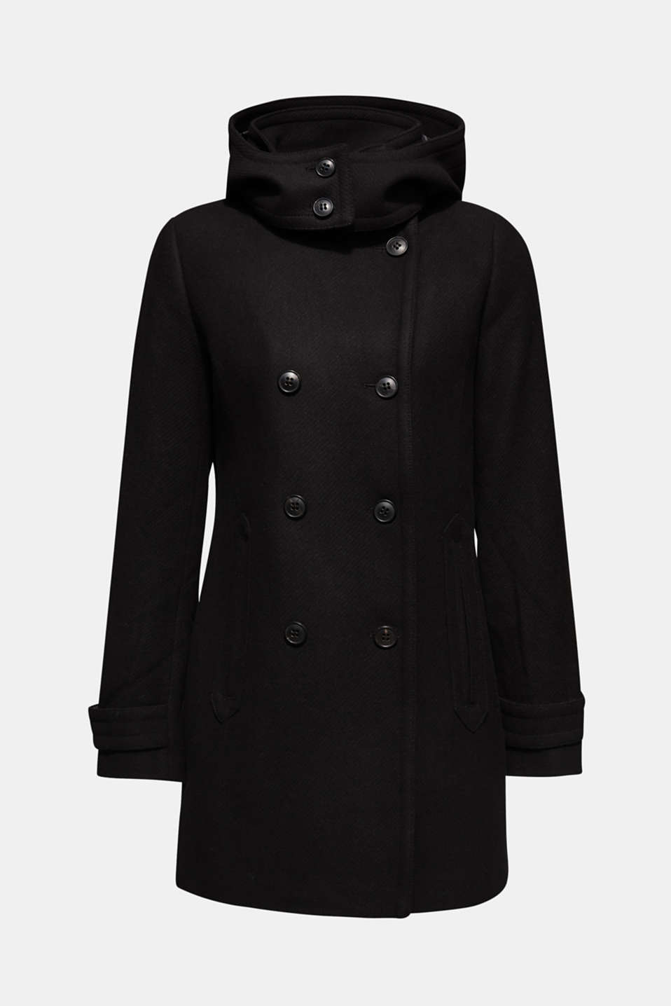 Made of blended wool: Coat with an adjustable hood, BLACK, detail image number 2