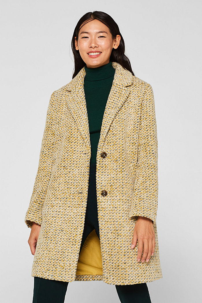In blended wool: textured blazer coat, LIGHT YELLOW, detail image number 0