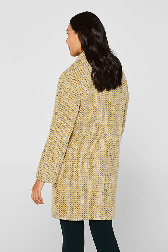 In blended wool: textured blazer coat, LIGHT YELLOW, detail image number 3