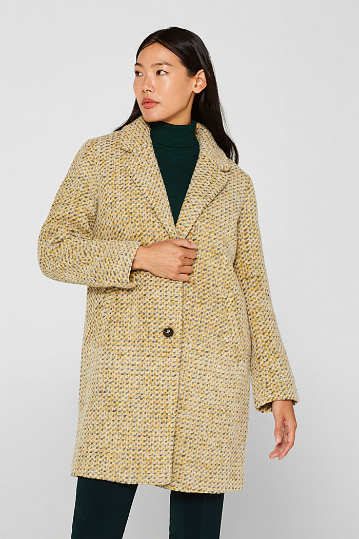 In blended wool: textured blazer coat, LIGHT YELLOW, detail image number 5