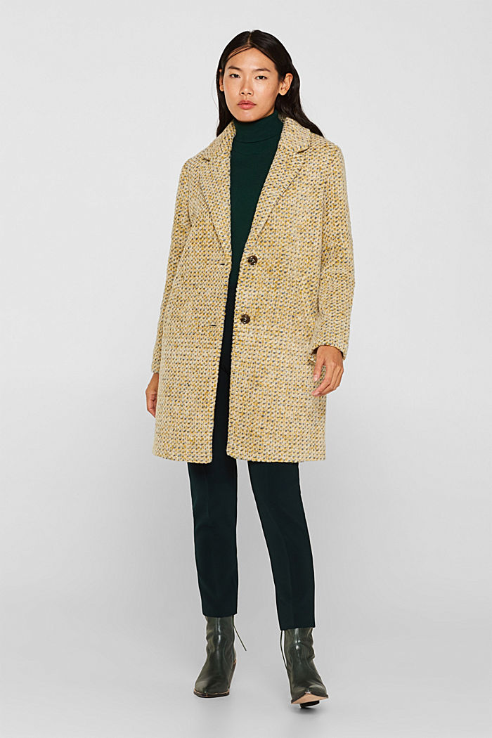 In blended wool: textured blazer coat, LIGHT YELLOW, detail image number 1