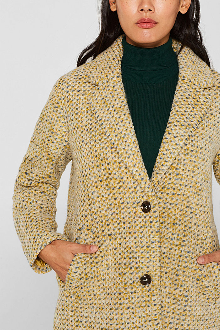 In blended wool: textured blazer coat, LIGHT YELLOW, detail image number 2