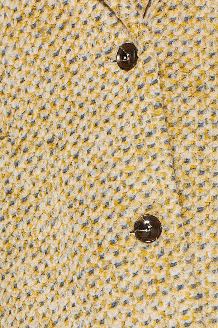 In blended wool: textured blazer coat, LIGHT YELLOW, detail image number 4