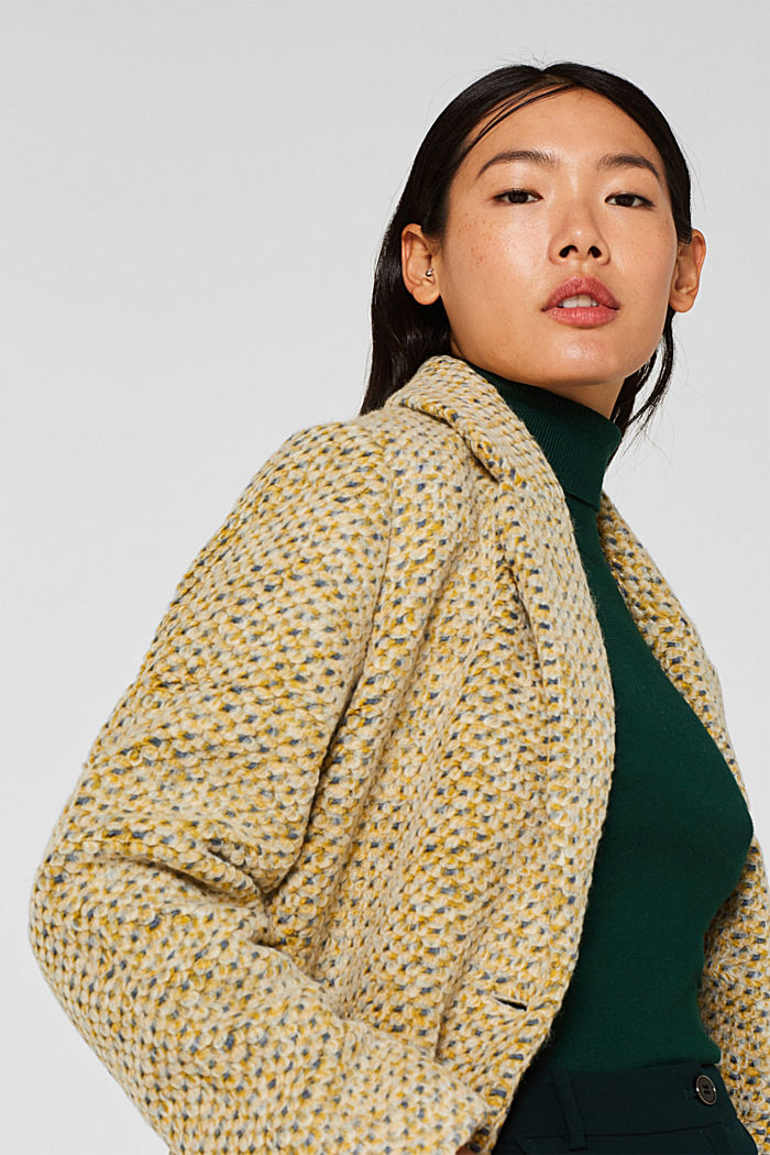 In blended wool: textured blazer coat, LIGHT YELLOW, detail image number 6