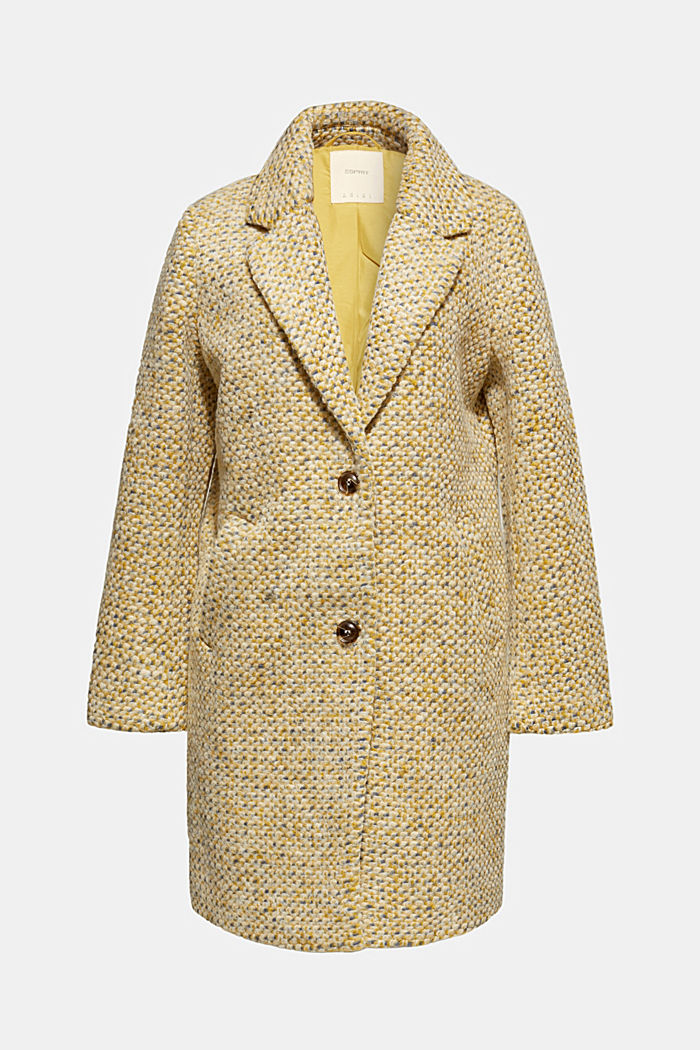 In blended wool: textured blazer coat, LIGHT YELLOW, detail image number 7