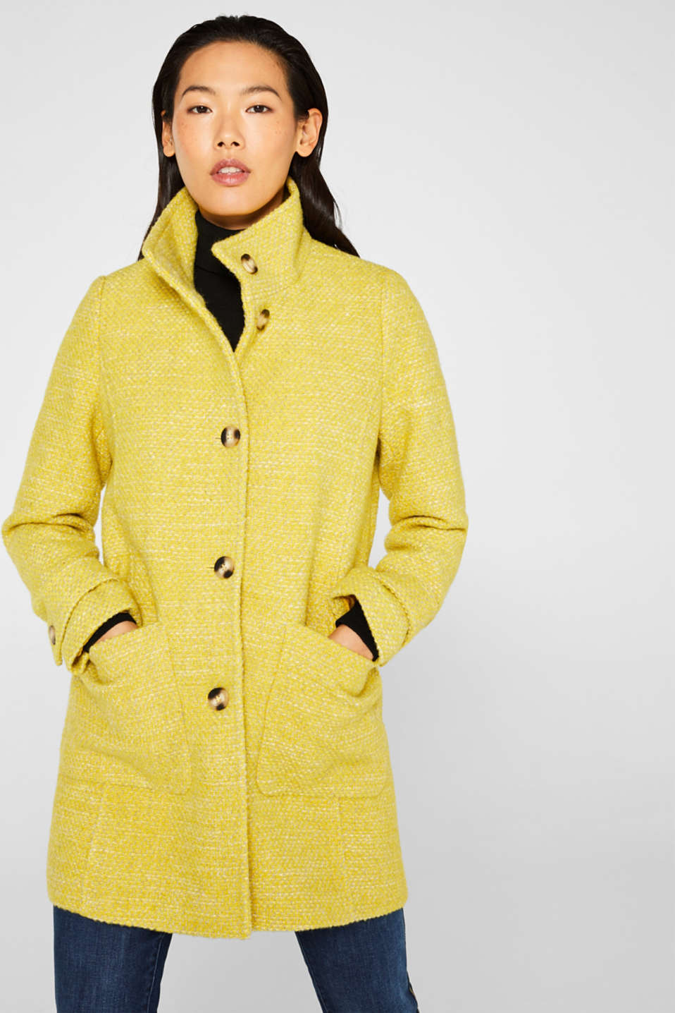 Esprit - Made of blended wool: coat in a two-tone look