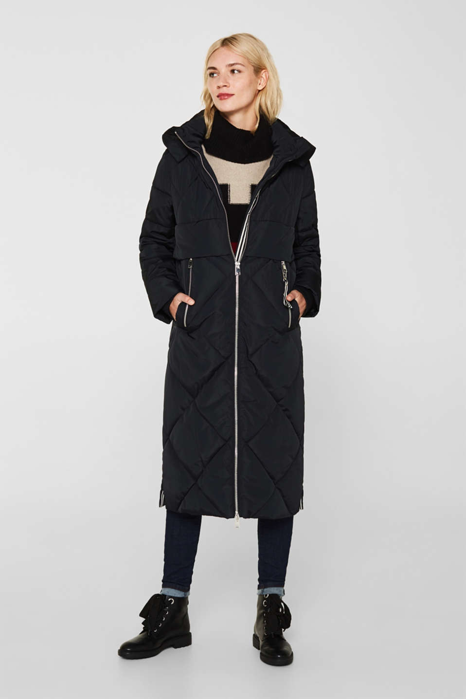 Quilted coat with a detachable hood, BLACK, detail image number 0