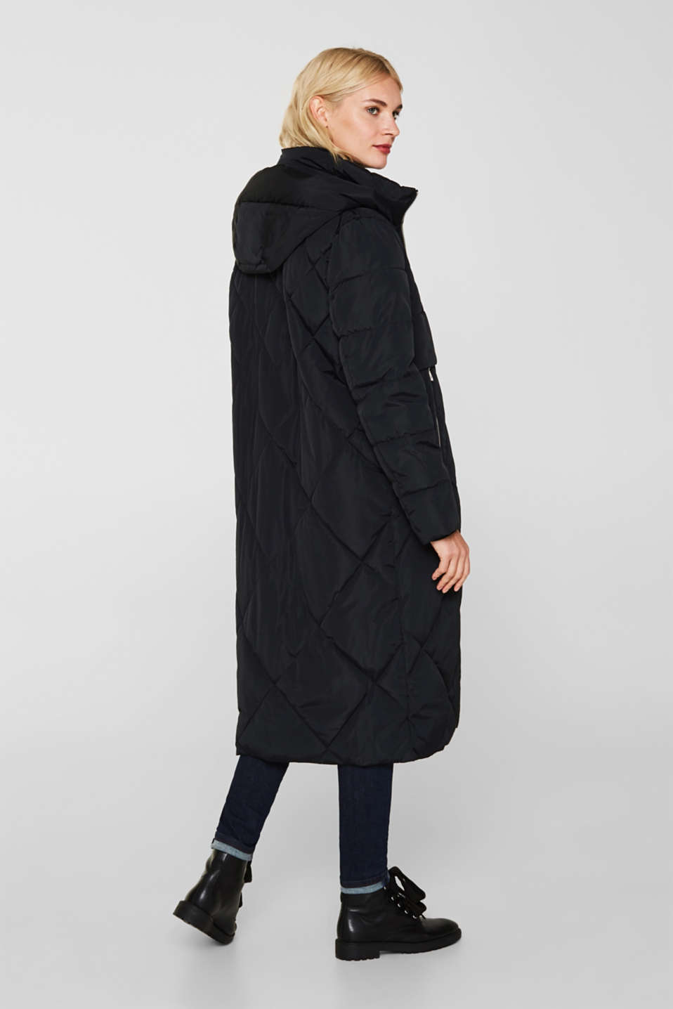 Quilted coat with a detachable hood, BLACK, detail image number 3